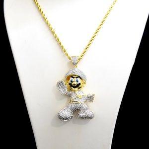 Other - Gold Finish Lab Diamond Custom Mario Charm Chain